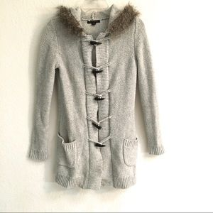 Banana Republic faux fur-lined hooded cardigan XS